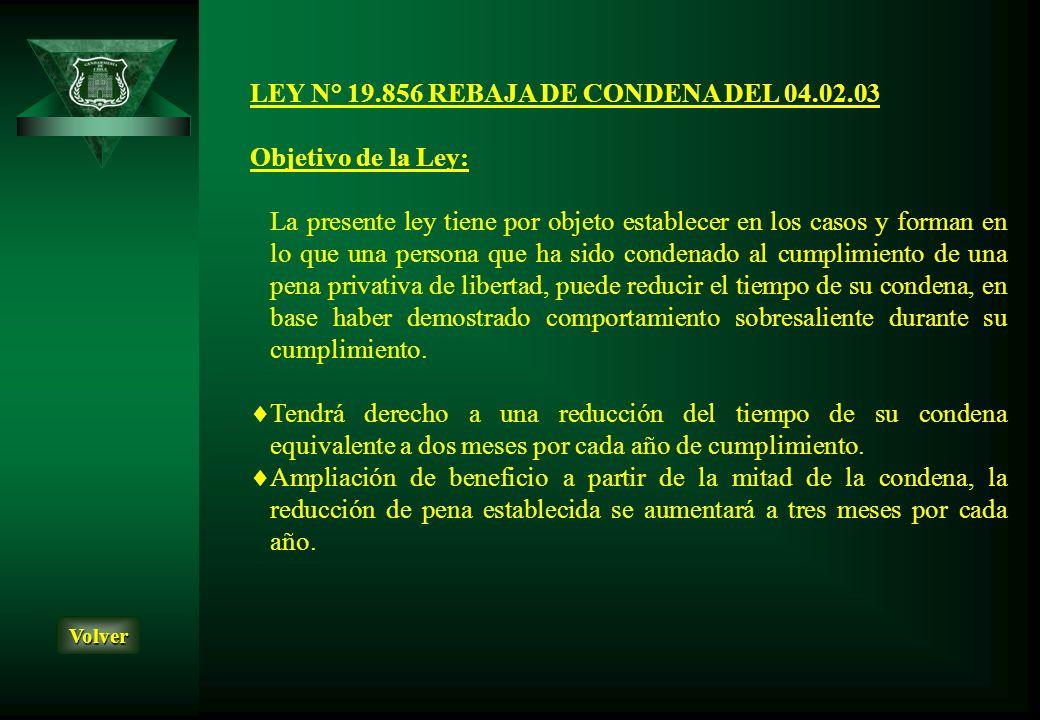 LEY N° 19.856 REBAJA DE CONDENA DEL 04.02.03 Objetivo de la Ley: La presente ley tiene por objeto establecer en los casos y forman en lo que una perso