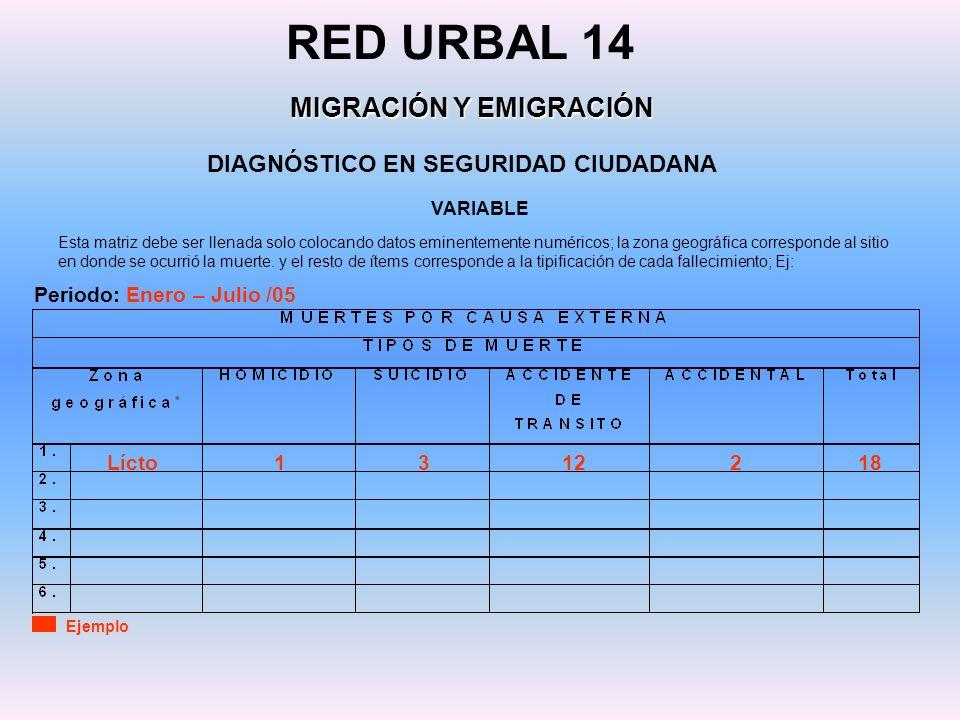 DIAGNÓSTICO EN SEGURIDAD CIUDADANA RED URBAL 14 MIGRACIÓN Y EMIGRACIÓN VARIABLE Ejemplo Esta matriz debe ser llenada solo colocando datos eminentement