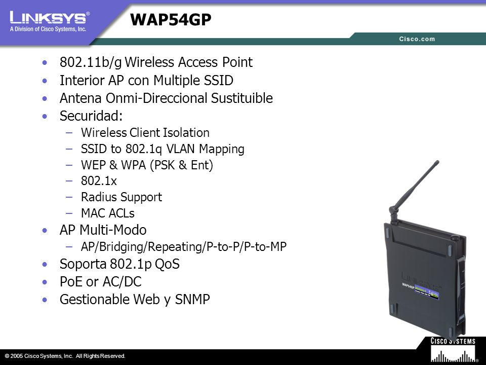 © 2005 Cisco Systems, Inc. All Rights Reserved. WAP54GP 802.11b/g Wireless Access Point Interior AP con Multiple SSID Antena Onmi-Direccional Sustitui
