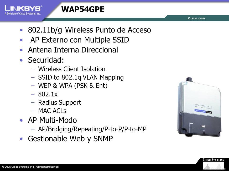 © 2005 Cisco Systems, Inc. All Rights Reserved. WAP54GPE 802.11b/g Wireless Punto de Acceso AP Externo con Multiple SSID Antena Interna Direccional Se