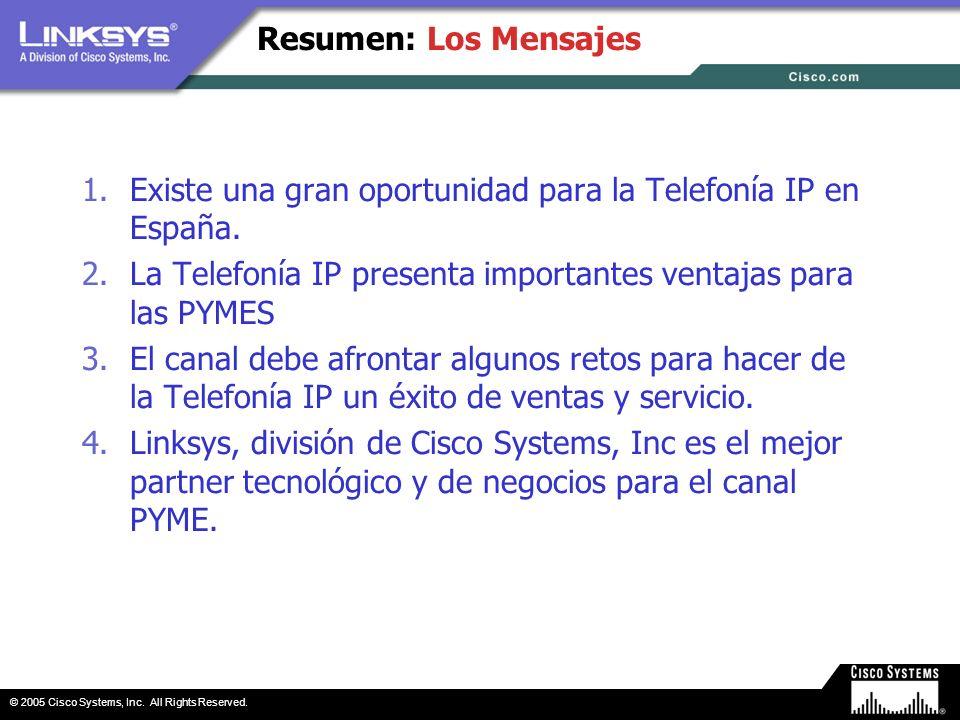 © 2005 Cisco Systems, Inc. All Rights Reserved. Resumen: Los Mensajes 1.Existe una gran oportunidad para la Telefonía IP en España. 2.La Telefonía IP