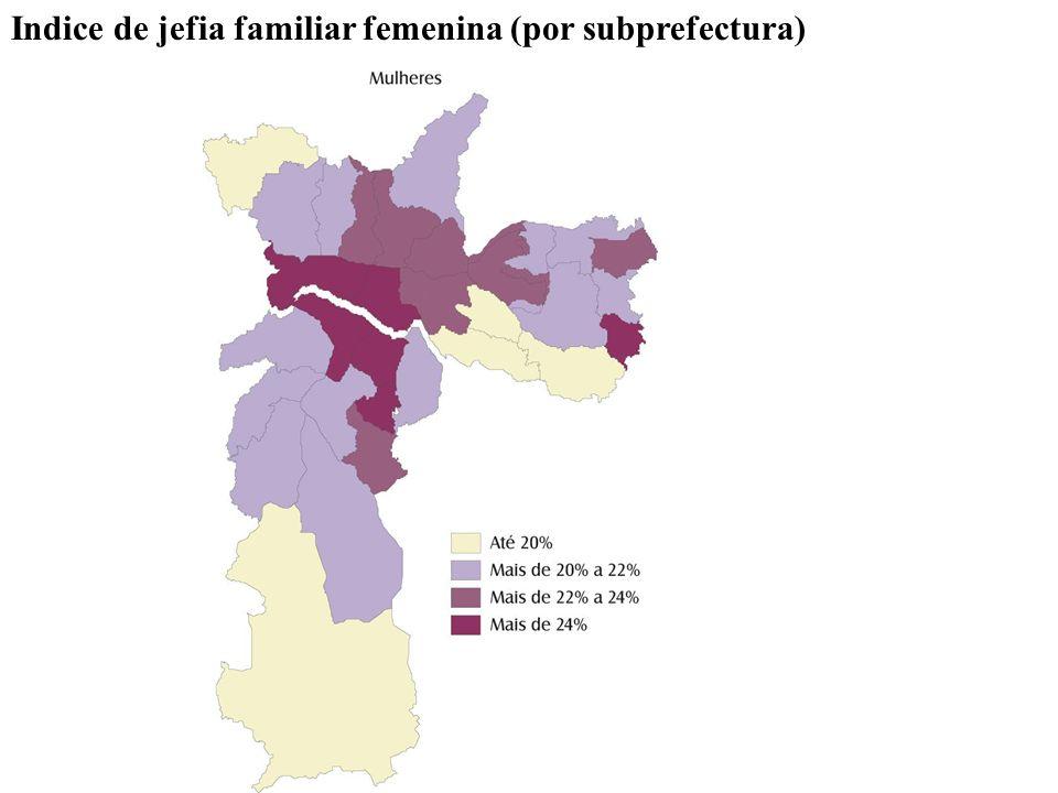 Indice de jefia familiar femenina (por subprefectura)