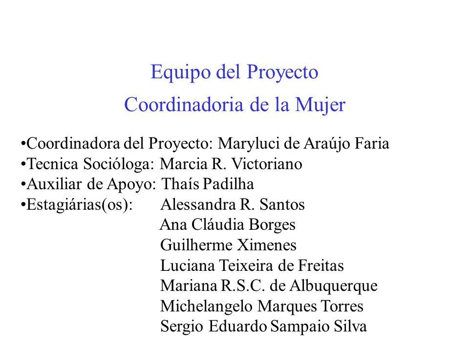 Equipo del Proyecto Coordinadoria de la Mujer Coordinadora del Proyecto: Maryluci de Araújo Faria Tecnica Socióloga: Marcia R.