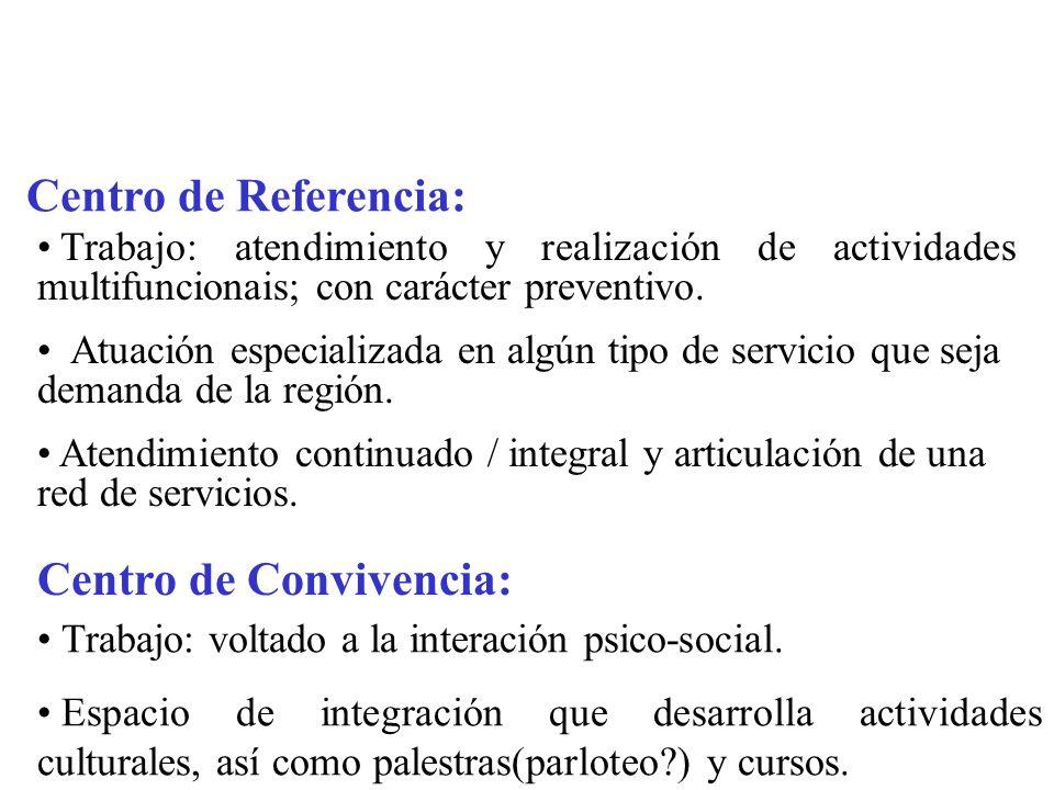 Centro de Referencia: Trabajo: atendimiento y realización de actividades multifuncionais; con carácter preventivo.
