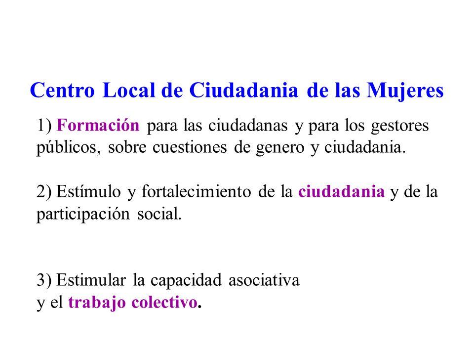 1) Formación para las ciudadanas y para los gestores públicos, sobre cuestiones de genero y ciudadania.