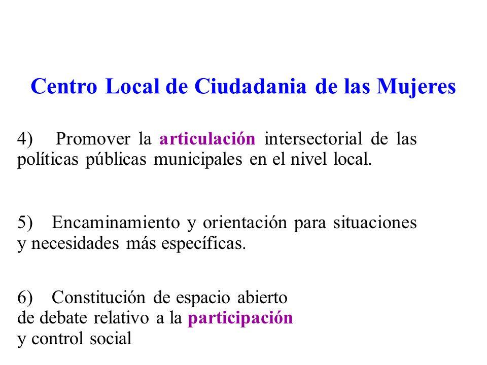 4) Promover la articulación intersectorial de las políticas públicas municipales en el nivel local.