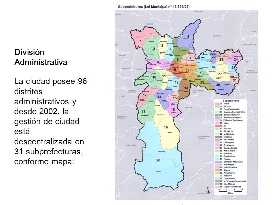 División Administrativa La ciudad posee 96 distritos administrativos y desde 2002, la gestión de ciudad está descentralizada en 31 subprefecturas, conforme mapa: