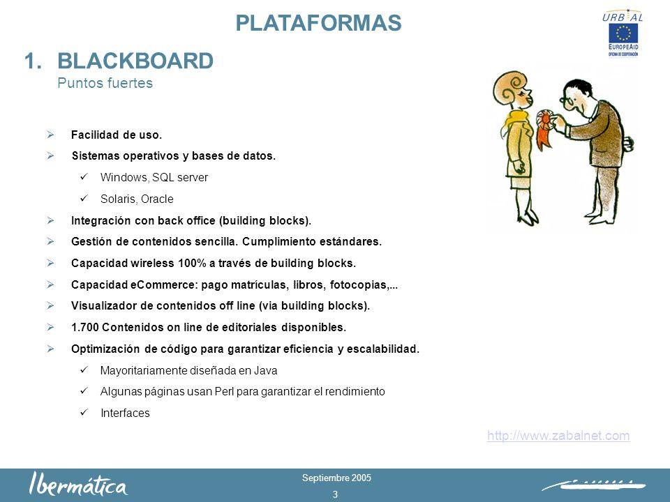 Septiembre 2005 2 Blackboard Solución plataforma eLearning Fácil de usar/implantar > 5,5 millones de usuarios Moodle Solución plataforma eLearning con