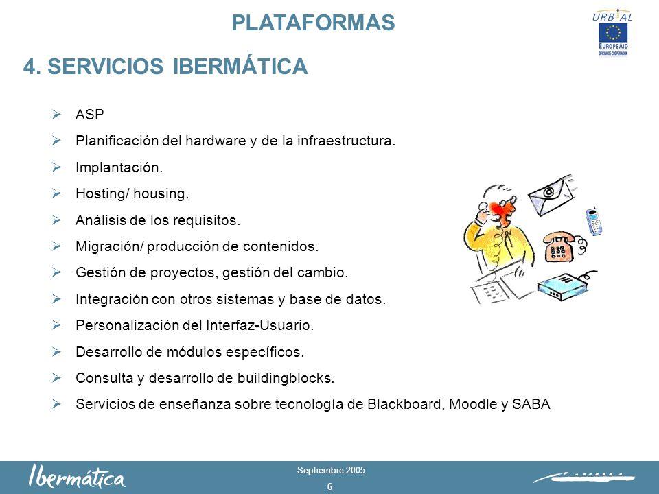 Septiembre 2005 6 ASP Planificación del hardware y de la infraestructura.
