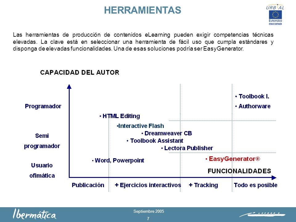 Septiembre 2005 7 HERRAMIENTAS Las herramientas de producción de contenidos eLearning pueden exigir competencias técnicas elevadas.
