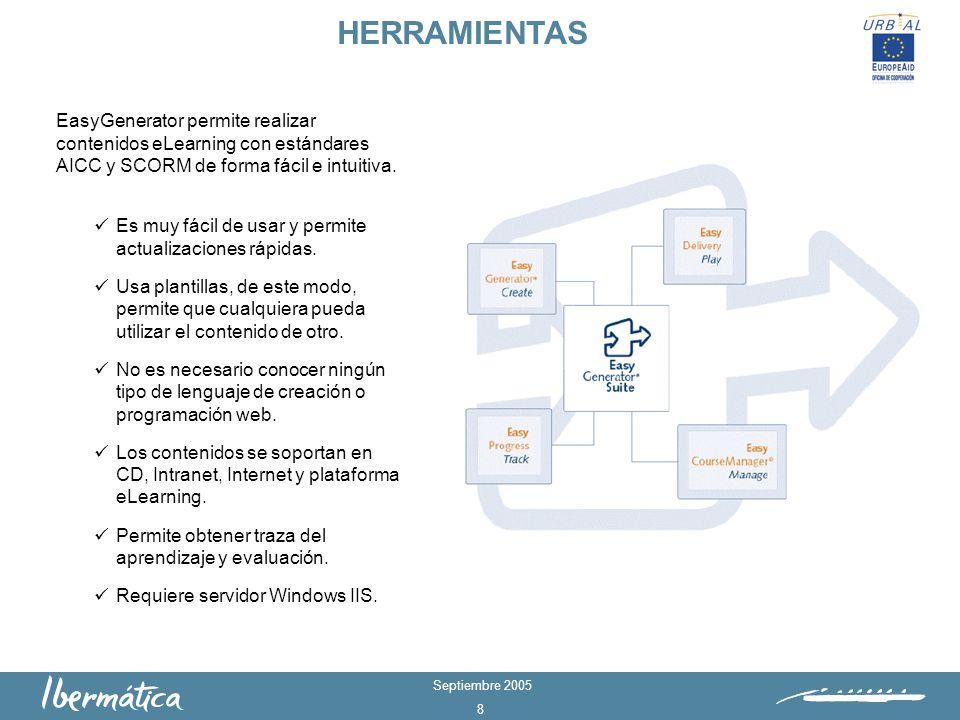 Septiembre 2005 8 HERRAMIENTAS EasyGenerator permite realizar contenidos eLearning con estándares AICC y SCORM de forma fácil e intuitiva.