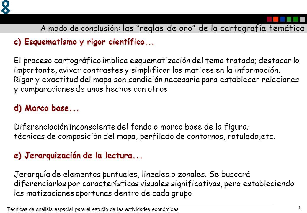 Técnicas de análisis espacial para el estudio de las actividades económicas 11 c) Esquematismo y rigor científico... d) Marco base... e) Jerarquizació