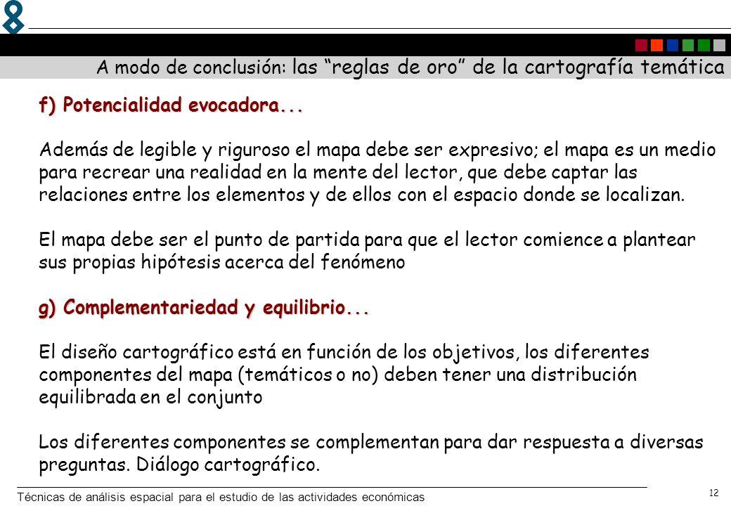 Técnicas de análisis espacial para el estudio de las actividades económicas 12 f) Potencialidad evocadora... g) Complementariedad y equilibrio... f) P
