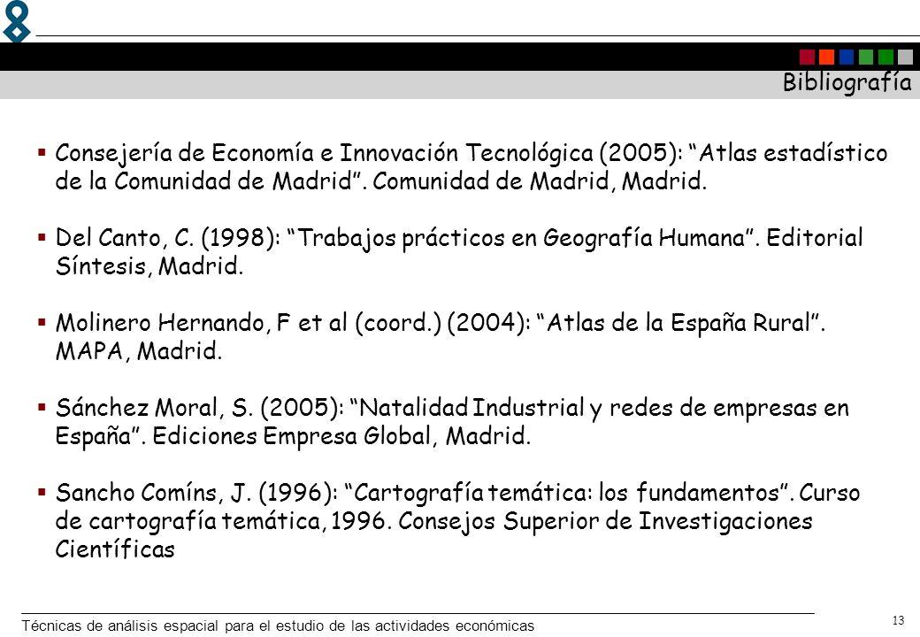 Técnicas de análisis espacial para el estudio de las actividades económicas 13 Bibliografía Consejería de Economía e Innovación Tecnológica (2005): At