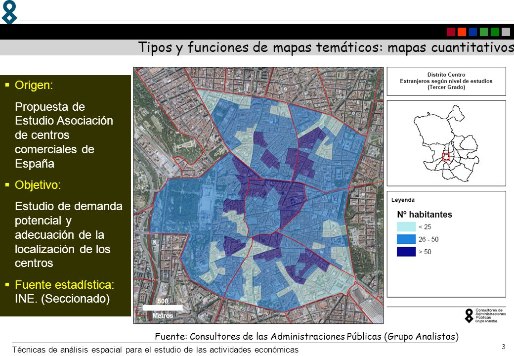 Técnicas de análisis espacial para el estudio de las actividades económicas 3 Tipos y funciones de mapas temáticos: mapas cuantitativos Fuente: Consul