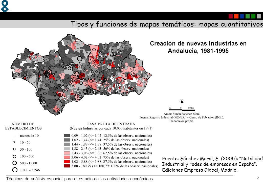 Técnicas de análisis espacial para el estudio de las actividades económicas 5 Tipos y funciones de mapas temáticos: mapas cuantitativos Creación de nu