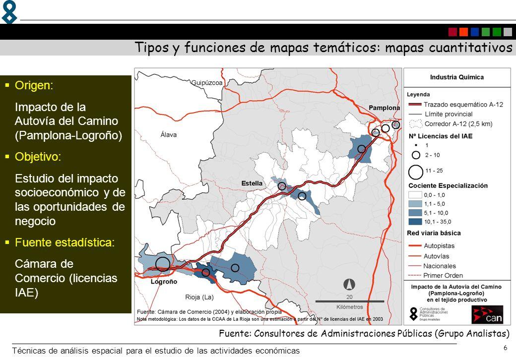 Técnicas de análisis espacial para el estudio de las actividades económicas 7 Tipos y funciones de mapas temáticos: mapas cuantitativos Fuente: Consejería de Economía e Innovación Tecnológica (2005): Atlas estadístico de la Comunidad de Madrid.