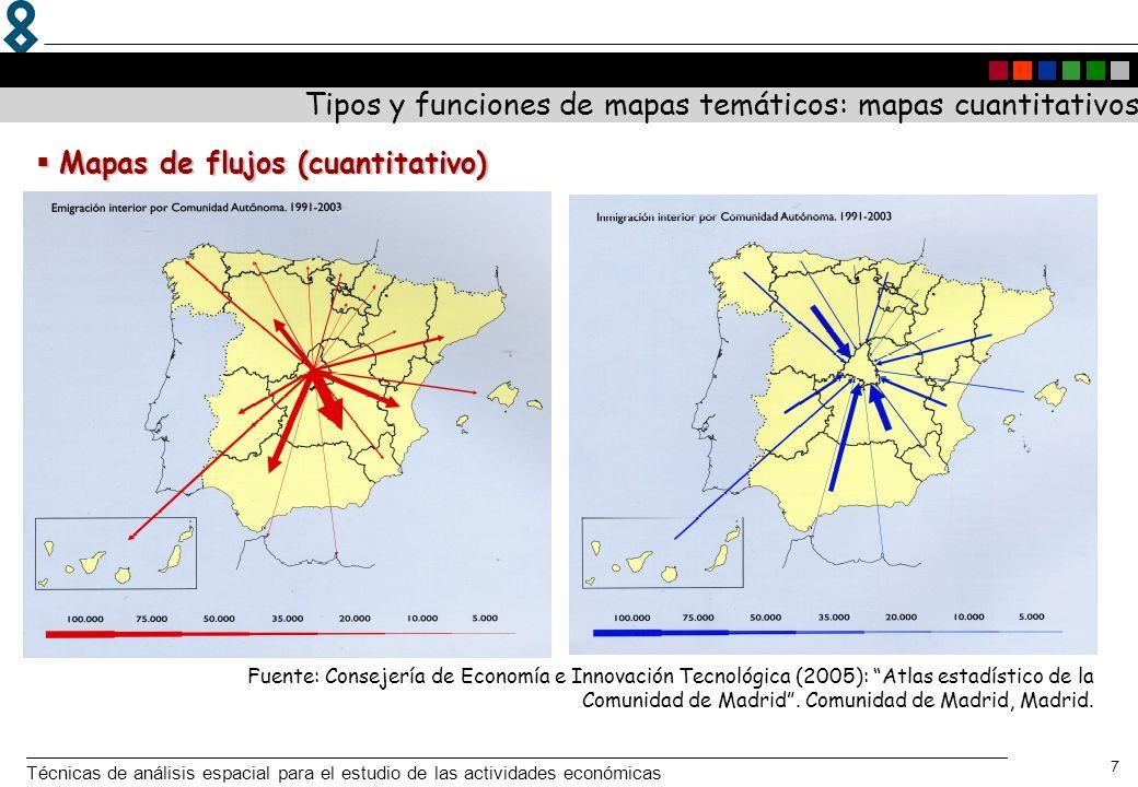 Técnicas de análisis espacial para el estudio de las actividades económicas 7 Tipos y funciones de mapas temáticos: mapas cuantitativos Fuente: Consej