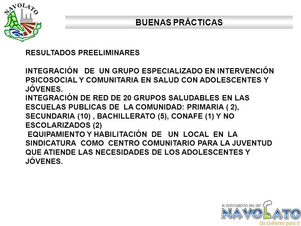 BUENAS PRÁCTICAS RESULTADOS PREELIMINARES INTEGRACIÓN DE UN GRUPO ESPECIALIZADO EN INTERVENCIÓN PSICOSOCIAL Y COMUNITARIA EN SALUD CON ADOLESCENTES Y JÓVENES.