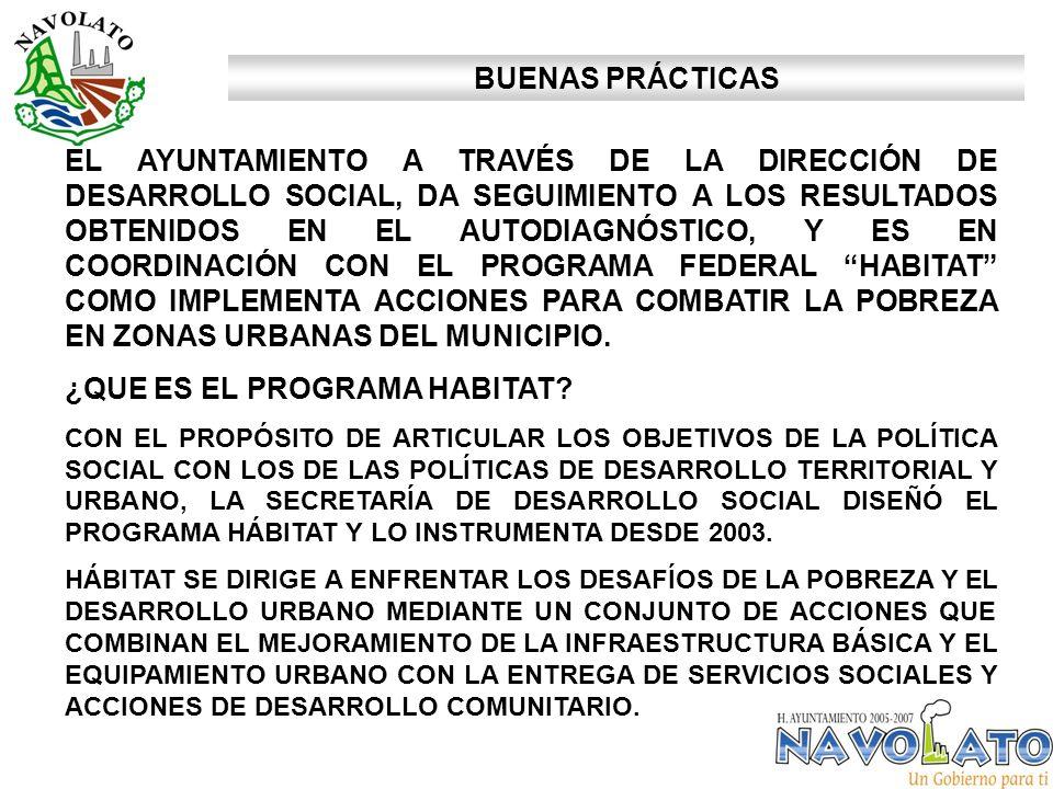 EL AYUNTAMIENTO A TRAVÉS DE LA DIRECCIÓN DE DESARROLLO SOCIAL, DA SEGUIMIENTO A LOS RESULTADOS OBTENIDOS EN EL AUTODIAGNÓSTICO, Y ES EN COORDINACIÓN CON EL PROGRAMA FEDERAL HABITAT COMO IMPLEMENTA ACCIONES PARA COMBATIR LA POBREZA EN ZONAS URBANAS DEL MUNICIPIO.