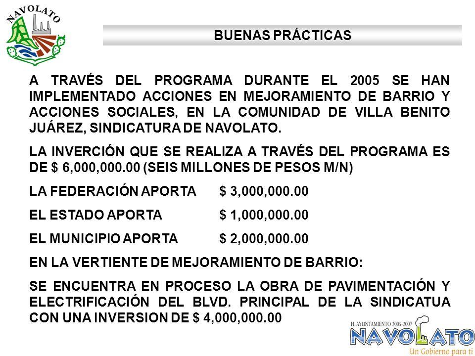A TRAVÉS DEL PROGRAMA DURANTE EL 2005 SE HAN IMPLEMENTADO ACCIONES EN MEJORAMIENTO DE BARRIO Y ACCIONES SOCIALES, EN LA COMUNIDAD DE VILLA BENITO JUÁREZ, SINDICATURA DE NAVOLATO.
