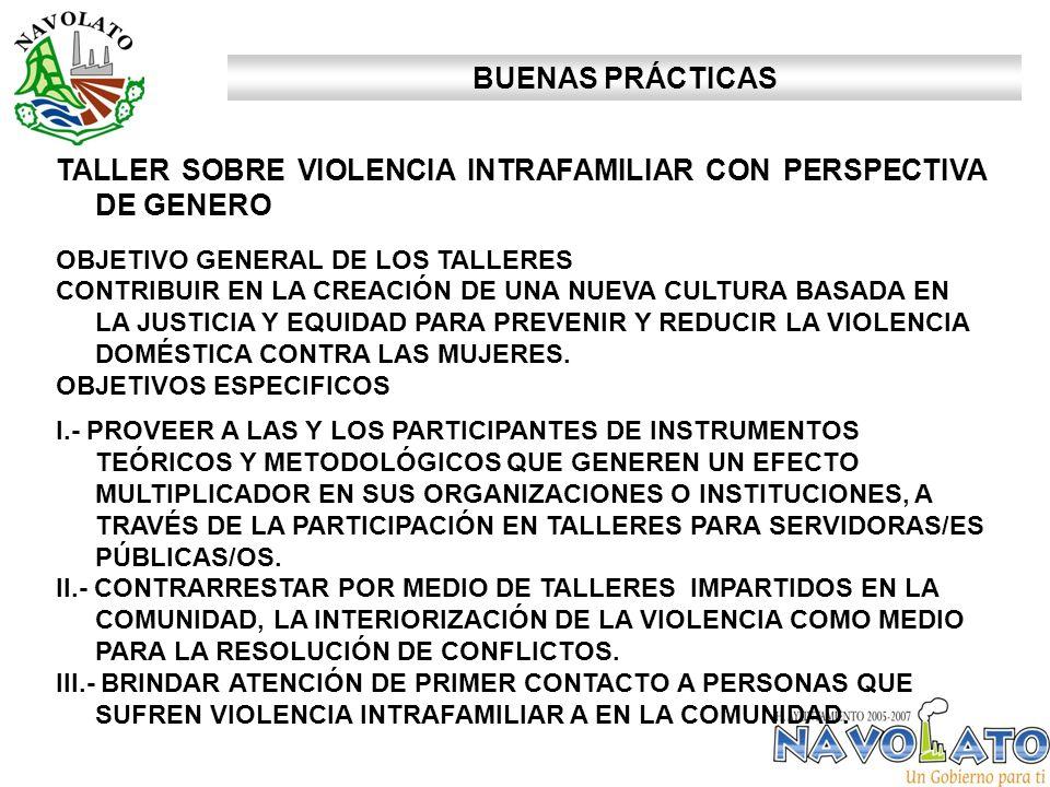 TALLER SOBRE VIOLENCIA INTRAFAMILIAR CON PERSPECTIVA DE GENERO OBJETIVO GENERAL DE LOS TALLERES CONTRIBUIR EN LA CREACIÓN DE UNA NUEVA CULTURA BASADA EN LA JUSTICIA Y EQUIDAD PARA PREVENIR Y REDUCIR LA VIOLENCIA DOMÉSTICA CONTRA LAS MUJERES.