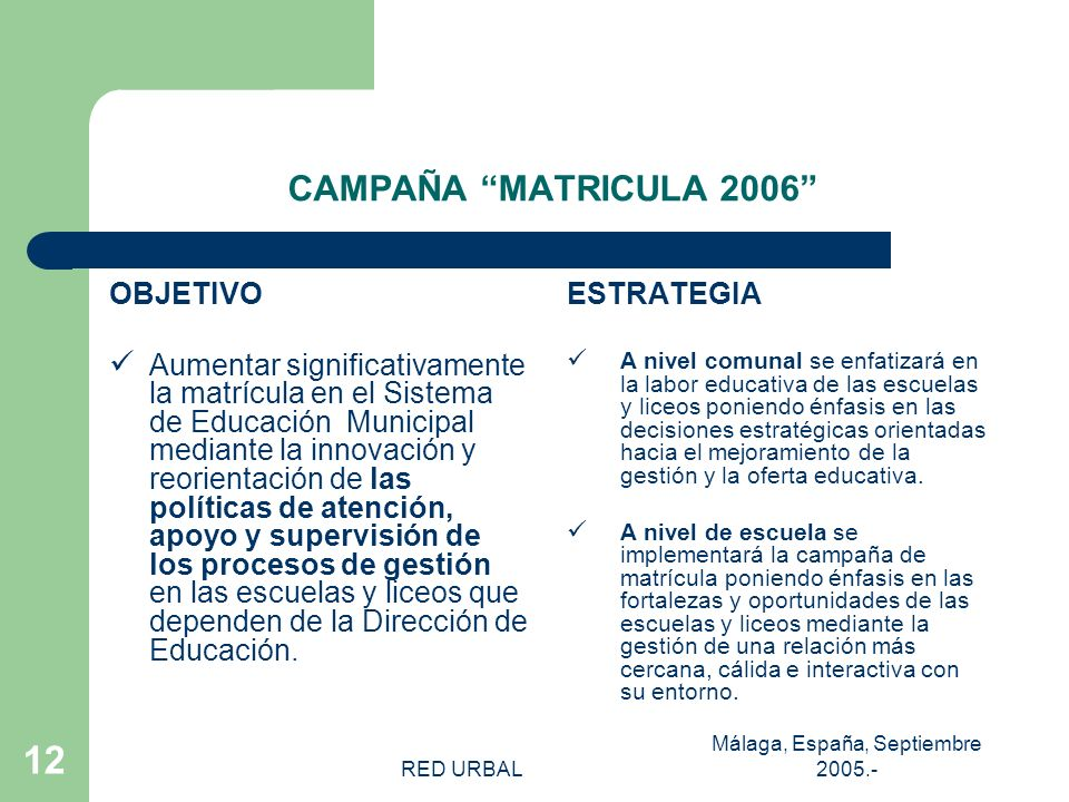RED URBAL Málaga, España, Septiembre 2005.- 11 ALGUNOS PROBLEMAS DE LA EDUCACION LOCAL Hay una percepción negativa del sistema de educación pública, que se traduce en un discurso negativo de las personas que lo usan, voy a la escuela pública porque no hay dinero para acceder a otra posibilidad.