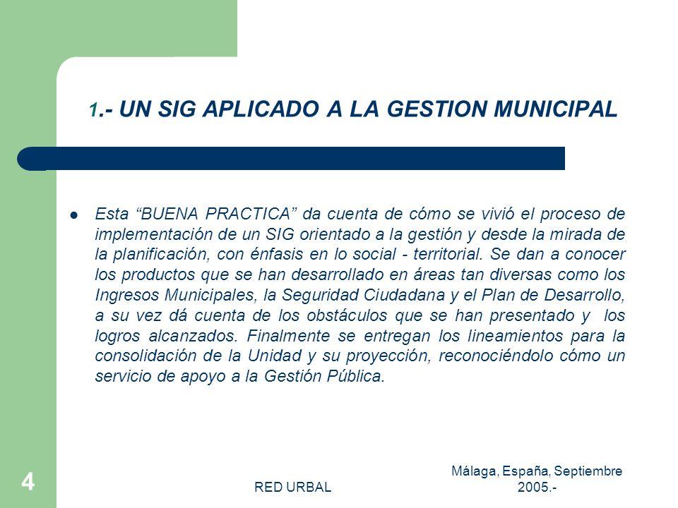 RED URBAL Málaga, España, Septiembre 2005.- 3 LA COMUNA DE EL BOSQUE Población económicamente activa: 130.283 En la fuerza de trabajo: 52.3% Población por pobreza: indigentes: 4.7% Total de pobres: 23% (Casen 2003) 175.594 hbtes.