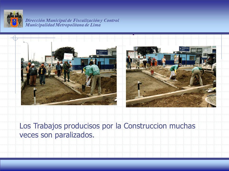 Haga clic para modificar el estilo de título del patrón Dirección Municipal de Fiscalización y Control Municipalidad Metropolitana de Lima 9 Los Trabajos producisos por la Construccion muchas veces son paralizados.