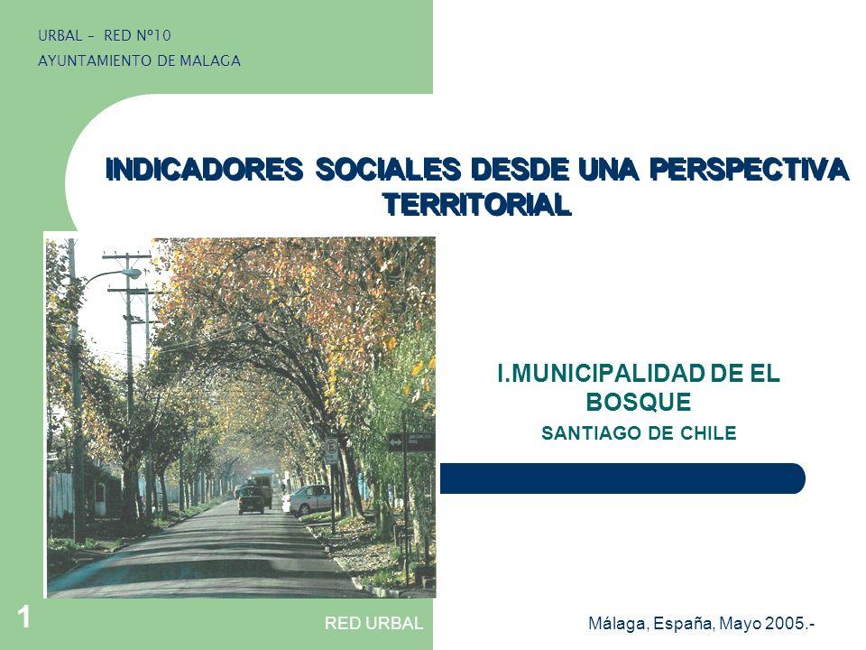 RED URBALMálaga, España, Mayo 2005.- 1 INDICADORES SOCIALES DESDE UNA PERSPECTIVA TERRITORIAL I.MUNICIPALIDAD DE EL BOSQUE SANTIAGO DE CHILE URBAL – R