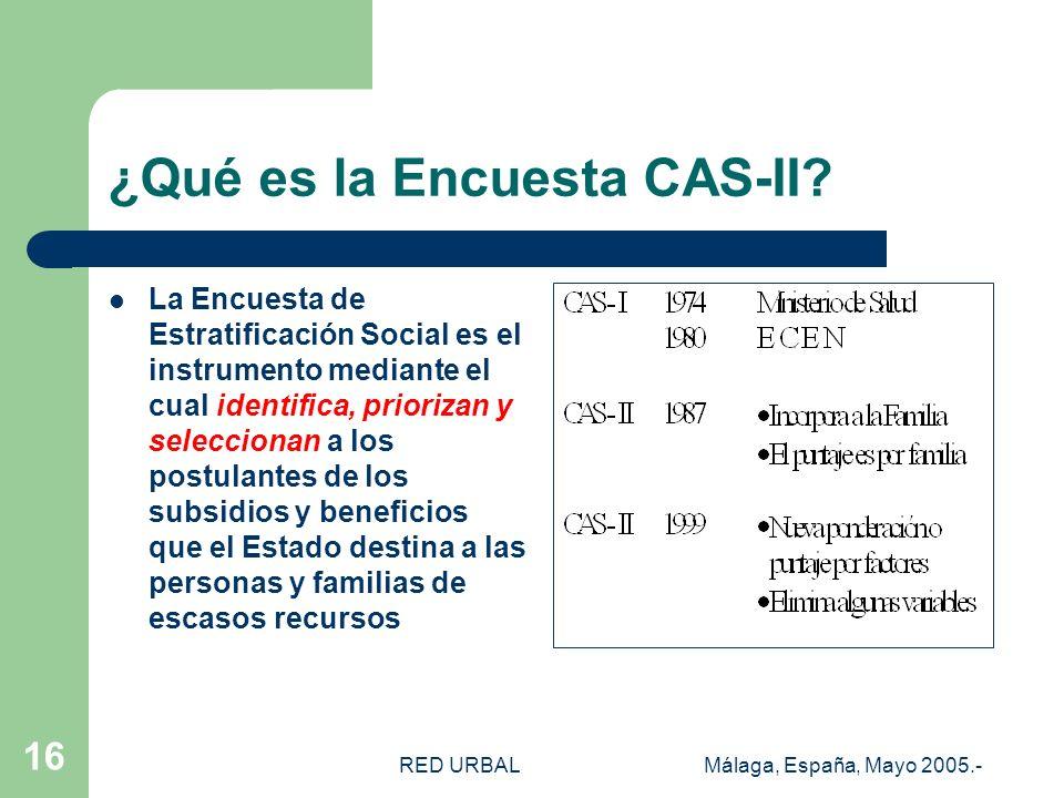 RED URBALMálaga, España, Mayo 2005.- 16 ¿Qué es la Encuesta CAS-II? La Encuesta de Estratificación Social es el instrumento mediante el cual identific