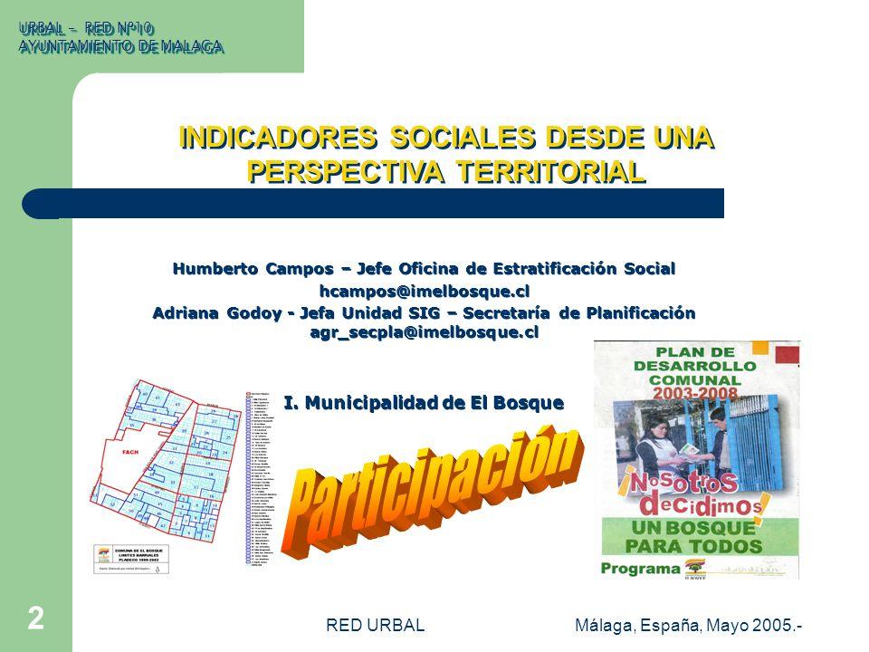 RED URBALMálaga, España, Mayo 2005.- 2 INDICADORES SOCIALES DESDE UNA PERSPECTIVA TERRITORIAL Humberto Campos – Jefe Oficina de Estratificación Social