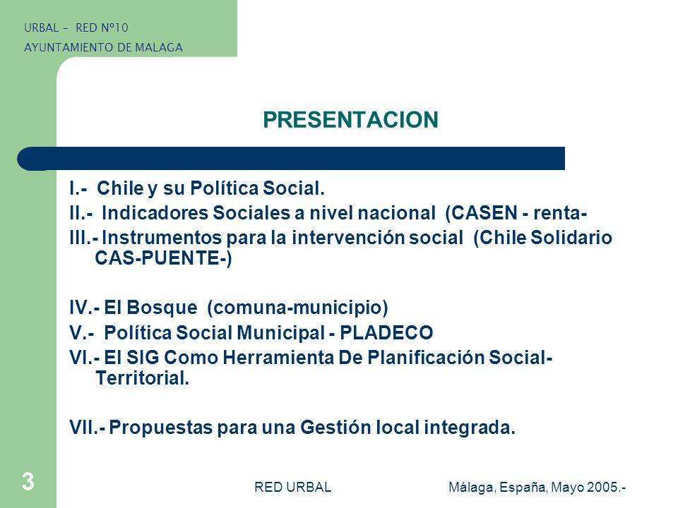 RED URBALMálaga, España, Mayo 2005.- 3 PRESENTACION I.- Chile y su Política Social. II.- Indicadores Sociales a nivel nacional (CASEN - renta- III.- I