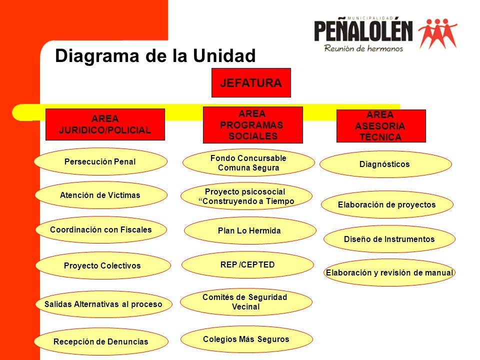 Diagrama de la Unidad AREA JURIDICO/POLICIAL AREA PROGRAMAS SOCIALES AREA ASESORIA TÉCNICA JEFATURA Persecución Penal Atención de Víctimas Coordinació