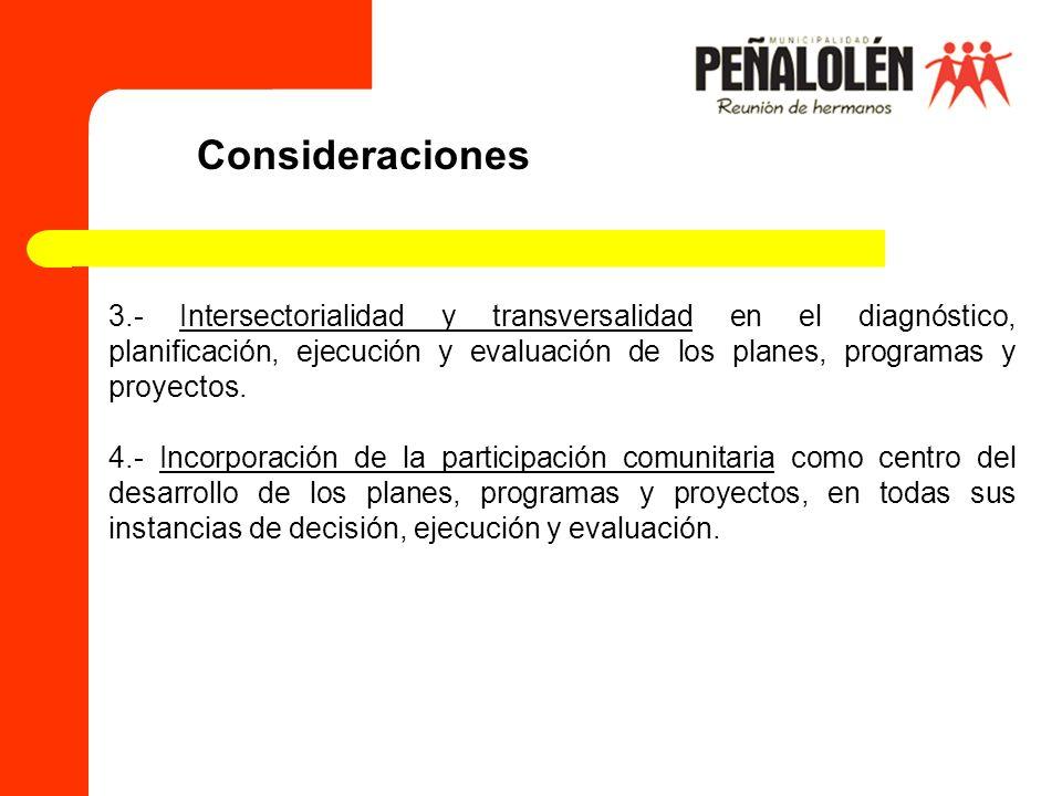 3.- Intersectorialidad y transversalidad en el diagnóstico, planificación, ejecución y evaluación de los planes, programas y proyectos. 4.- Incorporac