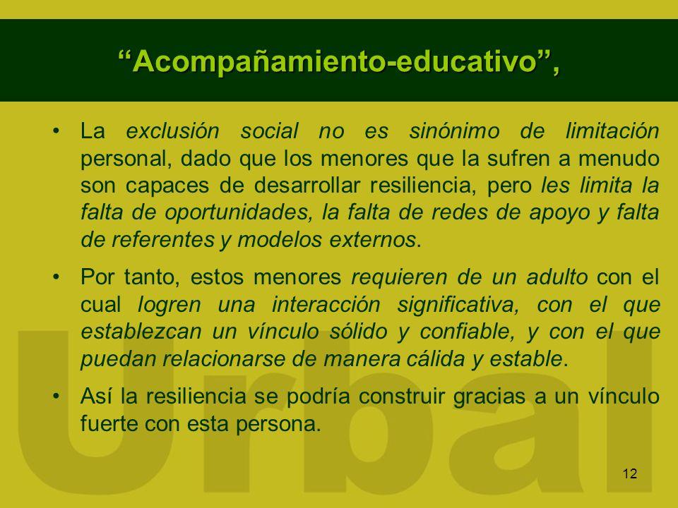 12 Acompañamiento-educativo, La exclusión social no es sinónimo de limitación personal, dado que los menores que la sufren a menudo son capaces de des