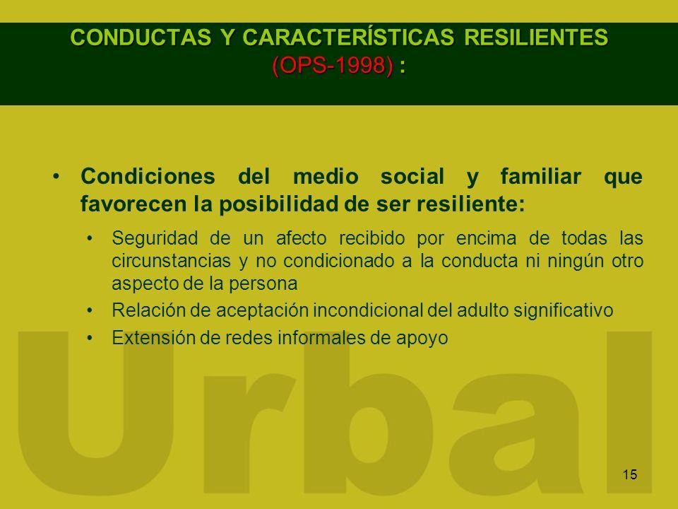 15 CONDUCTAS Y CARACTERÍSTICAS RESILIENTES (OPS-1998) : Condiciones del medio social y familiar que favorecen la posibilidad de ser resiliente: Seguri