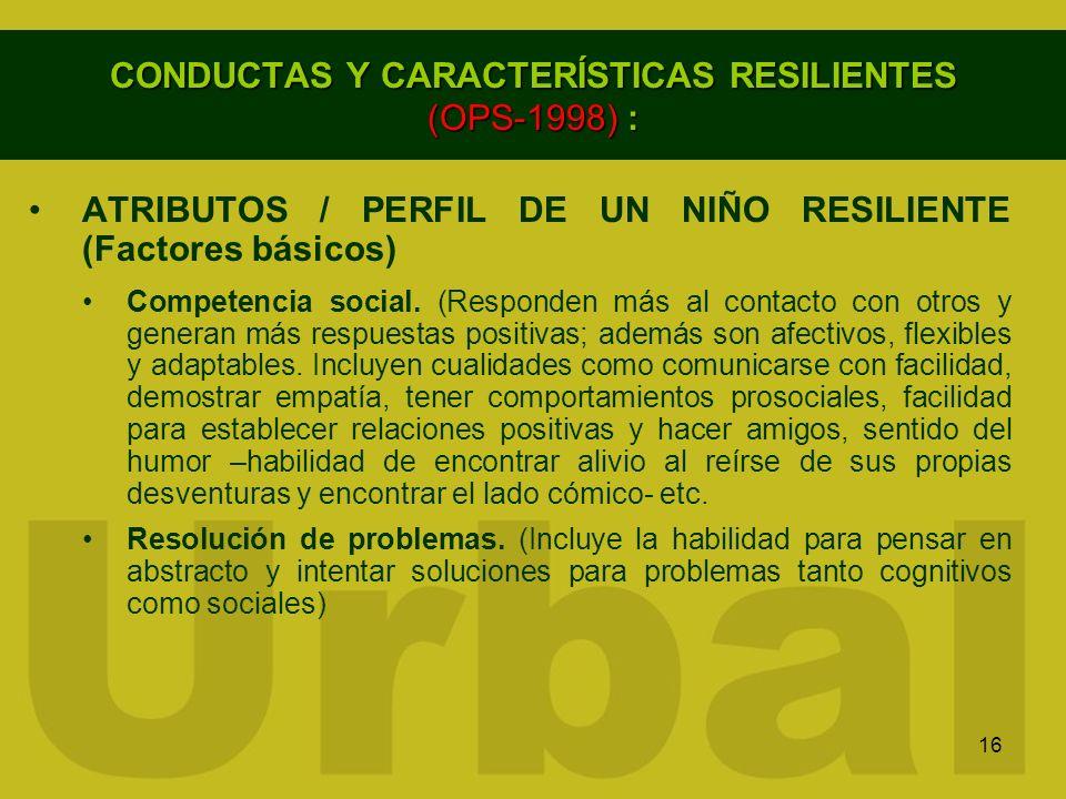 16 CONDUCTAS Y CARACTERÍSTICAS RESILIENTES (OPS-1998) : ATRIBUTOS / PERFIL DE UN NIÑO RESILIENTE (Factores básicos) Competencia social. (Responden más