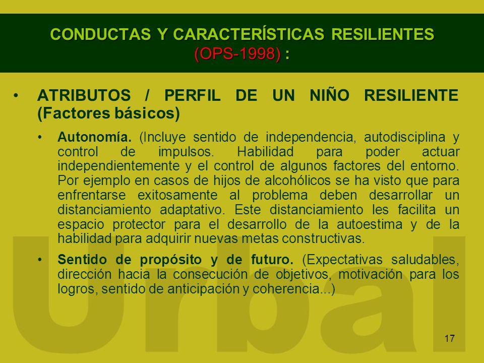 17 CONDUCTAS Y CARACTERÍSTICAS RESILIENTES (OPS-1998) : ATRIBUTOS / PERFIL DE UN NIÑO RESILIENTE (Factores básicos) Autonomía. (Incluye sentido de ind