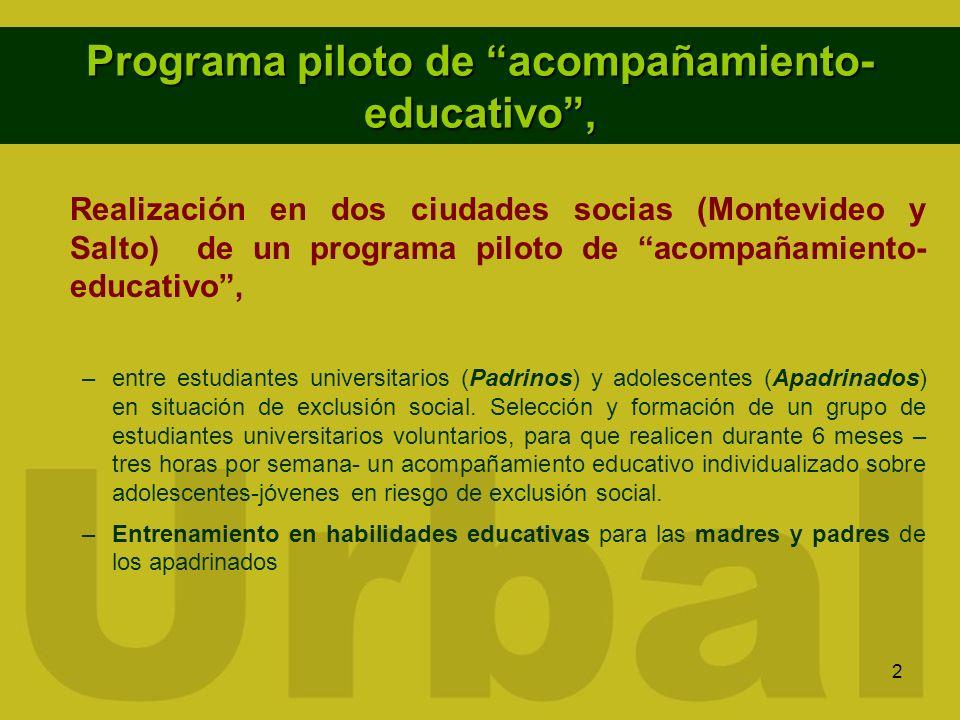 2 Programa piloto de acompañamiento- educativo, Realización en dos ciudades socias (Montevideo y Salto) de un programa piloto de acompañamiento- educa