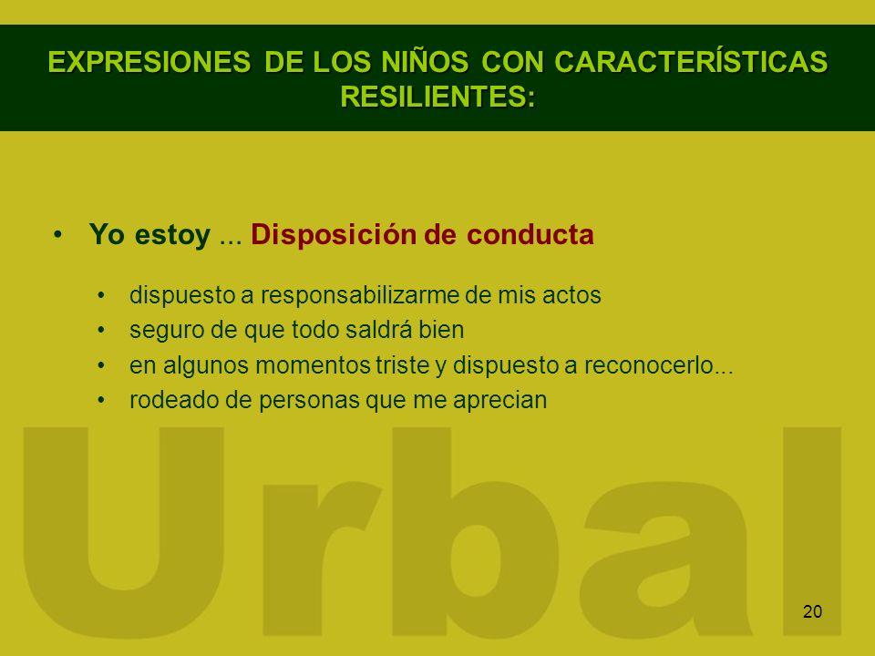20 EXPRESIONES DE LOS NIÑOS CON CARACTERÍSTICAS RESILIENTES: Yo estoy... Disposición de conducta dispuesto a responsabilizarme de mis actos seguro de