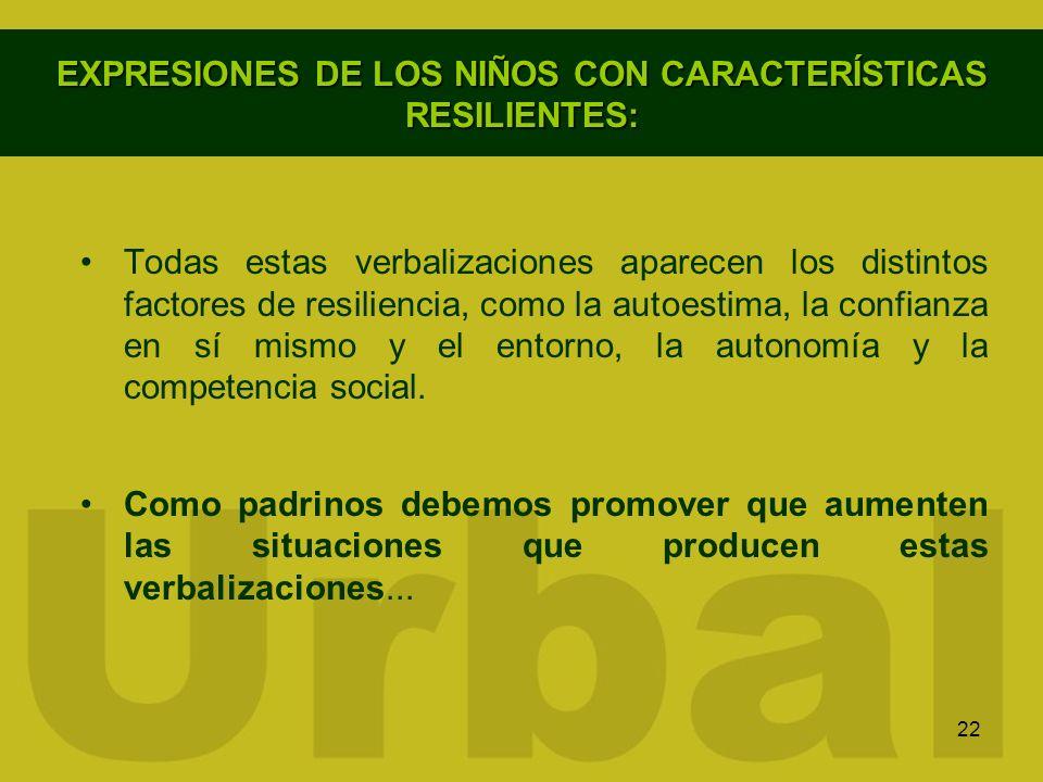 22 EXPRESIONES DE LOS NIÑOS CON CARACTERÍSTICAS RESILIENTES: Todas estas verbalizaciones aparecen los distintos factores de resiliencia, como la autoe