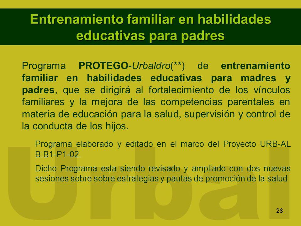 28 Entrenamiento familiar en habilidades educativas para padres Programa PROTEGO-Urbaldro(**) de entrenamiento familiar en habilidades educativas para