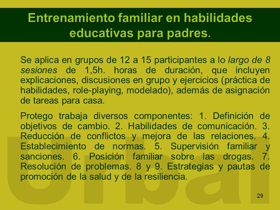 29 Entrenamiento familiar en habilidades educativas para padres. Se aplica en grupos de 12 a 15 participantes a lo largo de 8 sesiones de 1,5h. horas