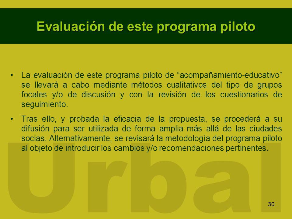 30 Evaluación de este programa piloto La evaluación de este programa piloto de acompañamiento-educativo se llevará a cabo mediante métodos cualitativo