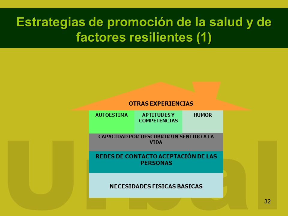 32 Estrategias de promoción de la salud y de factores resilientes (1) NECESIDADES FISICAS BASICAS CAPACIDAD POR DESCUBRIR UN SENTIDO A LA VIDA REDES D