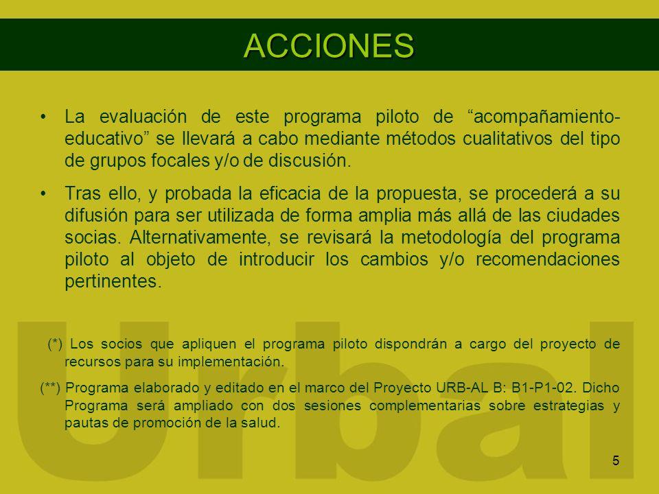 5 ACCIONES La evaluación de este programa piloto de acompañamiento- educativo se llevará a cabo mediante métodos cualitativos del tipo de grupos focal