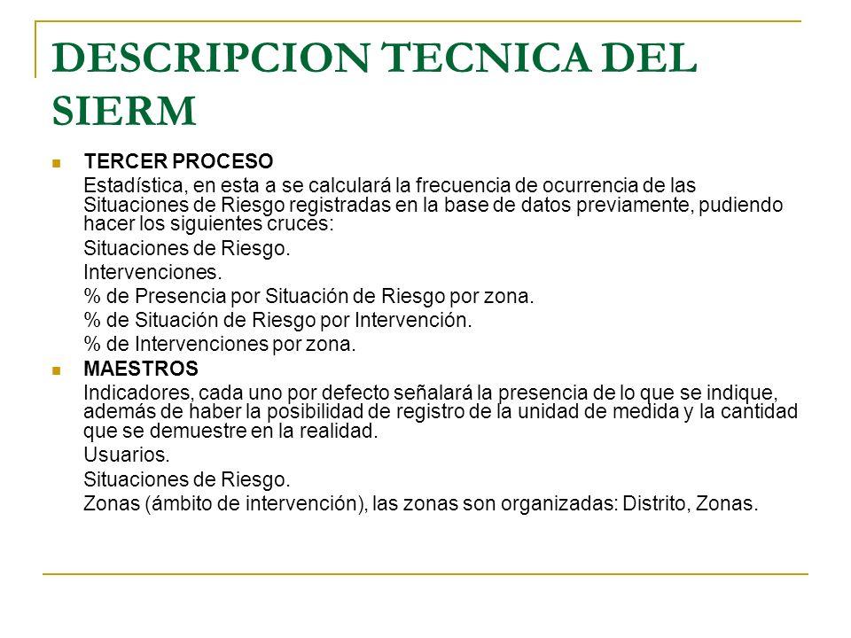 DESCRIPCION TECNICA DEL SIERM TERCER PROCESO Estadística, en esta a se calculará la frecuencia de ocurrencia de las Situaciones de Riesgo registradas