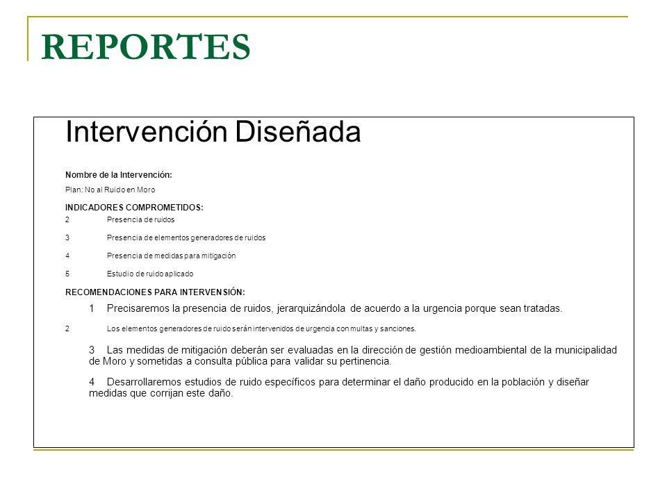 REPORTES Intervención Diseñada Nombre de la Intervención: Plan: No al Ruido en Moro INDICADORES COMPROMETIDOS: 2Presencia de ruidos 3Presencia de elem