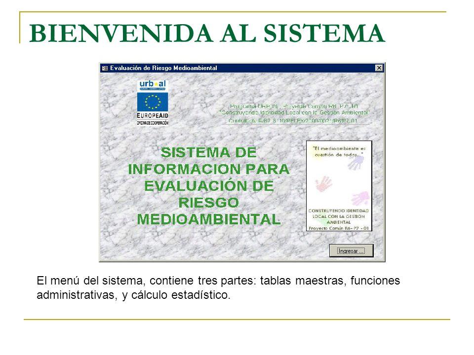 BIENVENIDA AL SISTEMA El menú del sistema, contiene tres partes: tablas maestras, funciones administrativas, y cálculo estadístico.